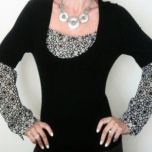 MAX STUDIO black embellished sweater blouse SZ XSP